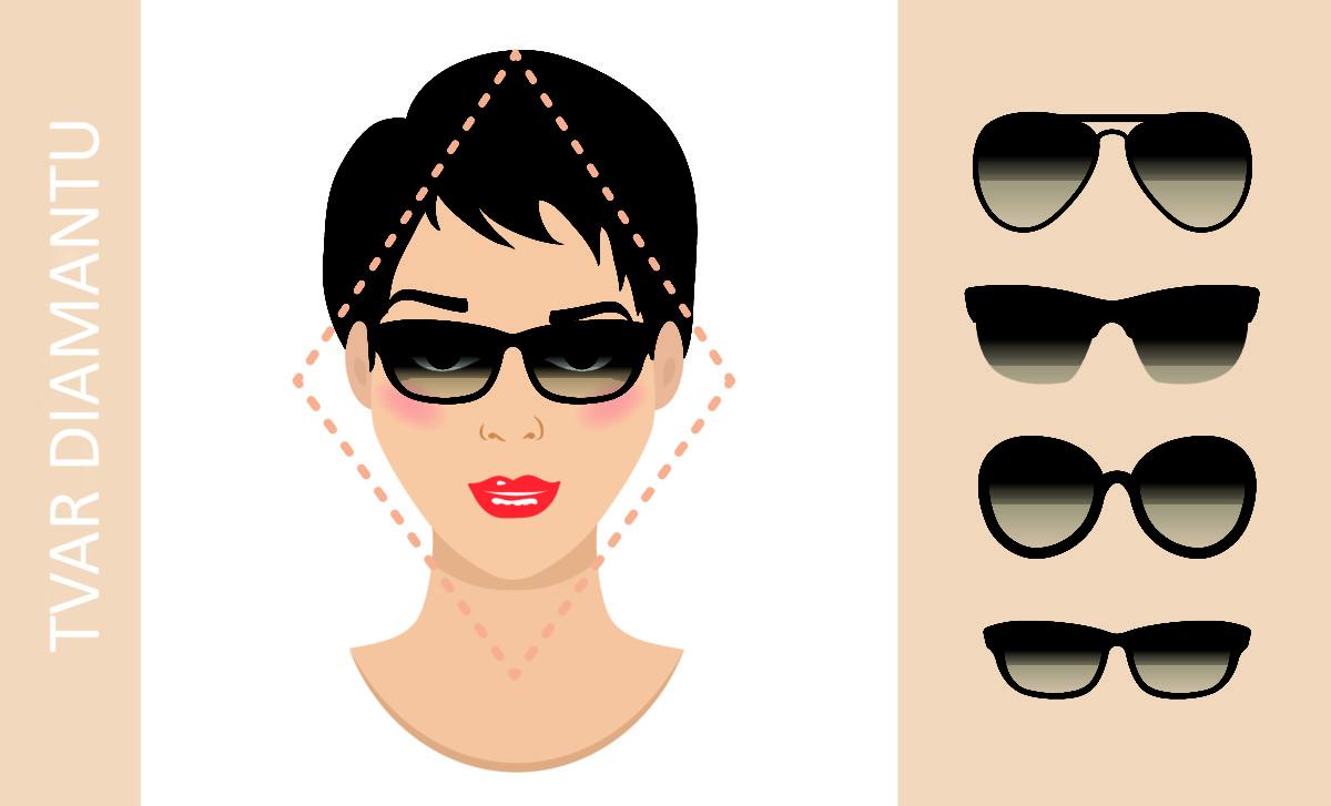 brýle podle tvaru obličeje - obličej ve tvaru diamantu